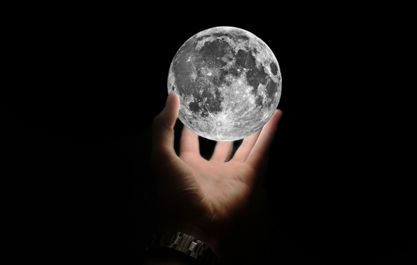 Picture background, black, widescreen, Wallpaper, hand, satellite, The moon, Moon, black, widescreen, background, satellite, full screen, …
