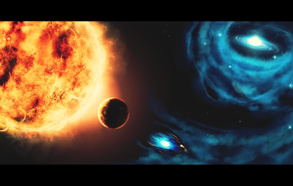 Picture the sun, figure, planet, Space, spaceship, photoshop