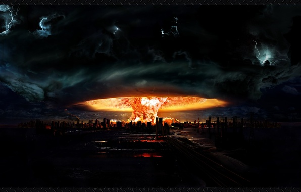 Picture the explosion, Apocalypse, figure, mushroom, art, nuclear, the city. flame