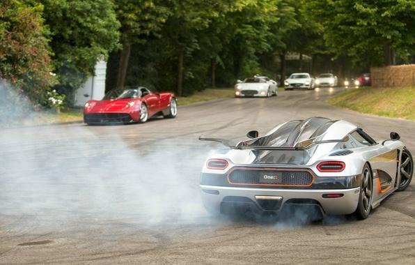 Picture Koenigsegg, drift, supercar, smoke, power, spyker, burnout, Agera, pagani, One:1