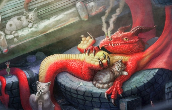 Picture cats, red, stay, dragon, smoke, tires, art, lynton levengood