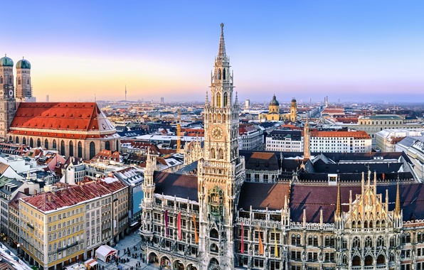 Picture the city, building, home, Germany, Munich, area, panorama, Cathedral, architecture, Germany, Marienplatz, Frauenkirche, Frauenkirche, Munich, …