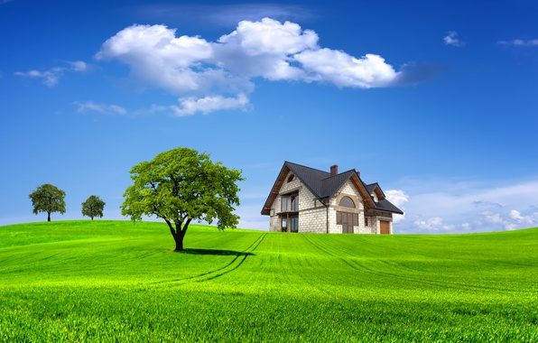 Picture field, summer, the sky, grass, clouds, trees, landscape, nature, house, tree, house, summer, house, grass, ...