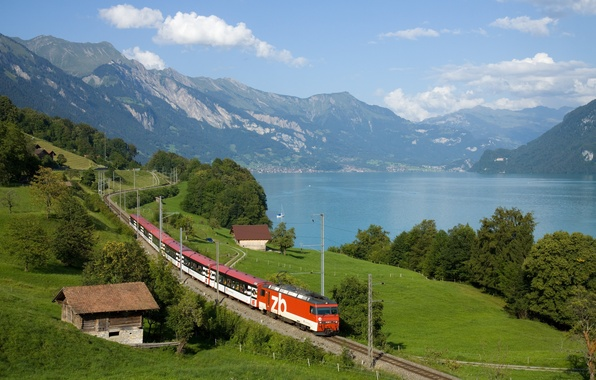 Picture greens, mountains, house, river, train