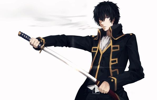 Picture sword, anime, cigarette, guy, smokes, uniform, Gintama, Hijikata Toushirou, Gintama
