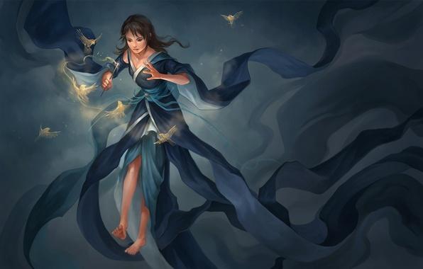 Picture girl, birds, magic, barefoot, dress, art, wand