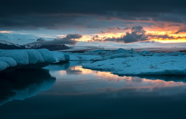 Picture ice, the sky, clouds, snow, sunset, lake, reflection, the evening, Laguna, Iceland, glaciers