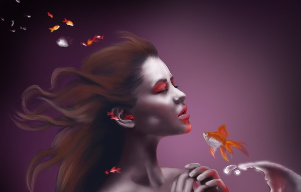 Picture water, girl, fish, fish, background, art