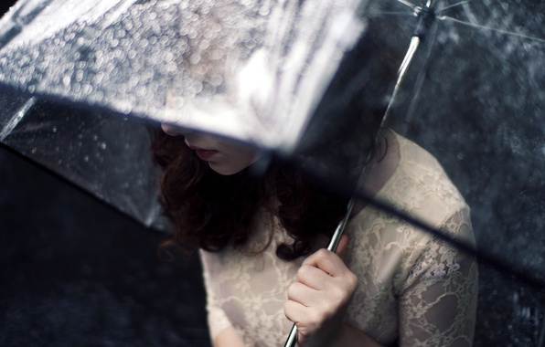 Picture girl, rain, umbrella