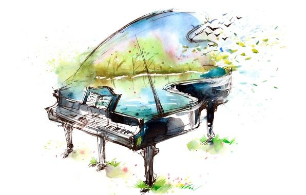 Picture birds, lake, notes, figure, piano, art, watercolor
