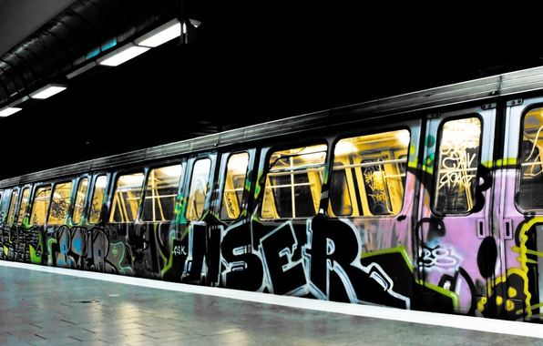 Picture light, city, the city, labels, metro, paint, train, colors, drawings, light, graffiti, 1920x1200, train, lettering, …