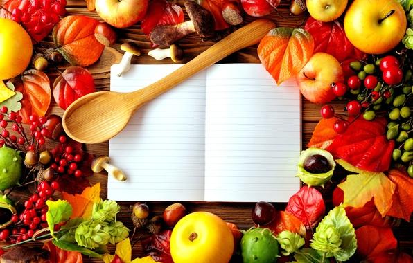 Picture autumn, leaves, berries, table, apples, mushrooms, briar, spoon, notebook, wood, chestnuts, acorns
