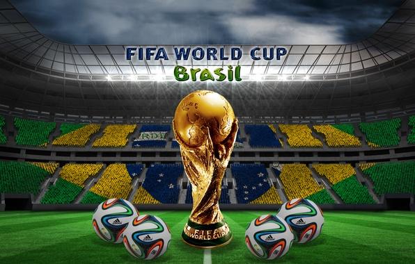 Picture football, balls, Brazil, stadium, football, flag, ball, world Cup, World Cup, Brasil, FIFA, 2014, brazuca, …