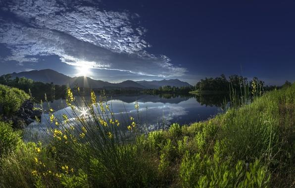 Picture grass, clouds, mountains, reflection, river, sunrise, dawn, France, morning, France, Corsica, Corsica, Alistro, river Alistro