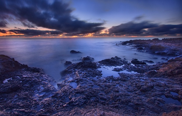 Picture dawn, shore, HDR, Sea, treatment, morning