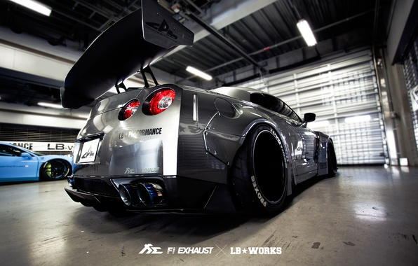 Photo wallpaper tuning, garage, GTR, Nissan, Liberty Walk, Fi Exhaust