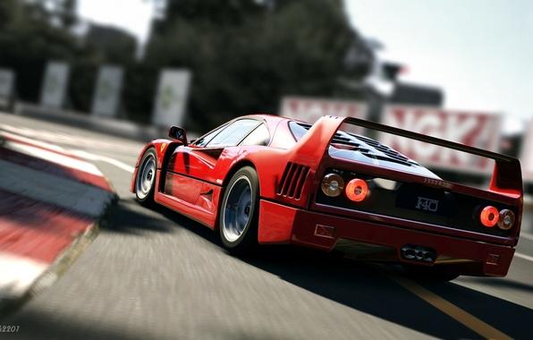 Picture red, supercar, race, ferrari f40