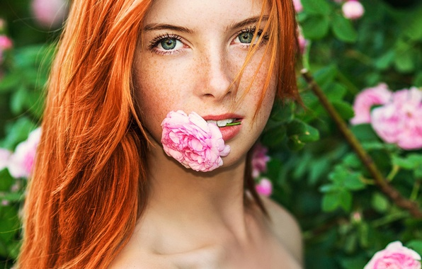 Picture flower, portrait, freckles, redhead, teeth