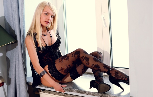 Picture look, girl, stockings, negligee, window, blonde, shoes, sill, legs, in black, dina