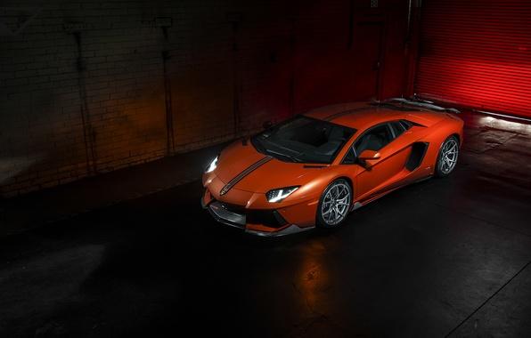 Picture Lamborghini, Lamborghini, Vorsteiner, front, orange, LP700-4, Aventador, left, aventador