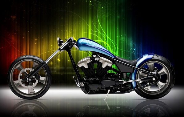 Picture motorcycle, Blue, Black, Bike, Custom, Motorcycle