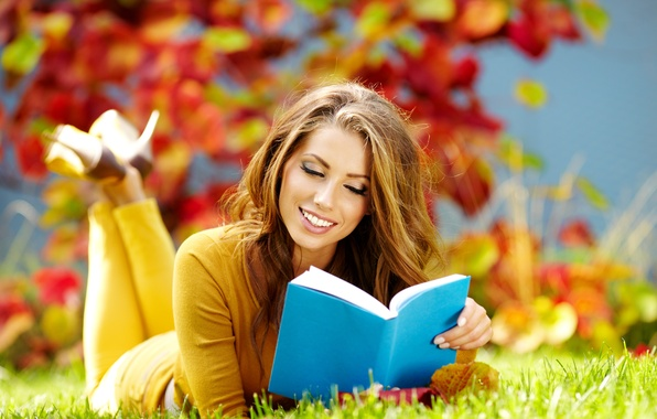Picture autumn, grass, leaves, girl, smile, book, brown hair, reads