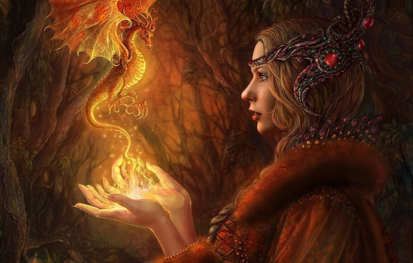 Picture forest, girl, decoration, fire, magic, dragon, art, lantern, Alena Klementeva