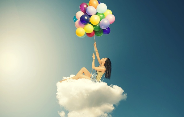 Picture the sky, girl, clouds, balls, balloons, background, Wallpaper, mood, woman, colored, cloud, wallpaper, widescreen, background, …