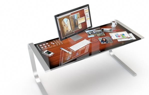 Picture design, reflection, table, Apple, concept, iDesk