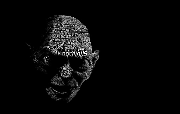 Picture Gollum, hobbit, Typography