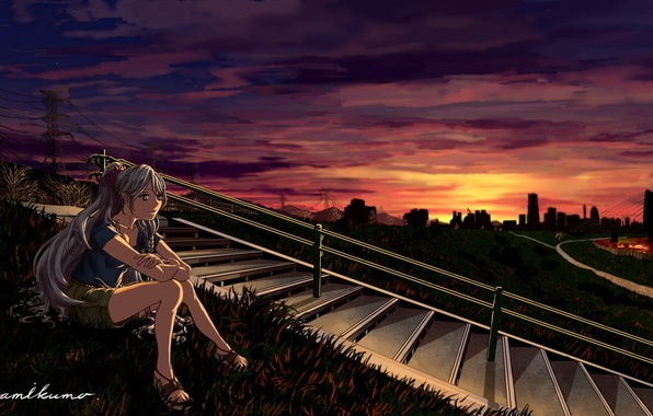 Picture grass, girl, sunset, the evening, hill, ladder, railings, steps, vocaloid, hatsune miku, sitting