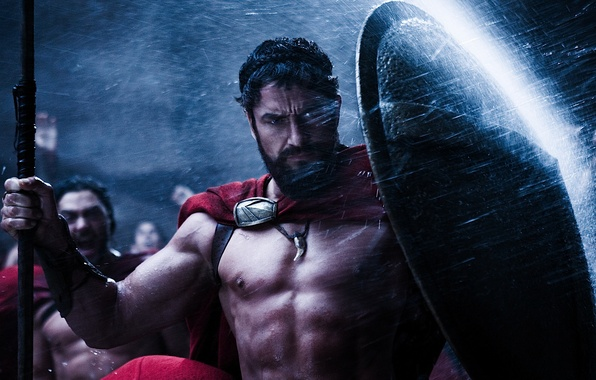 Picture the film, Wallpaper, 300 Spartans, wallpaper, shield, Gerard Butler