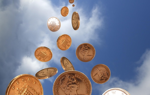 Picture the sky, money, coins