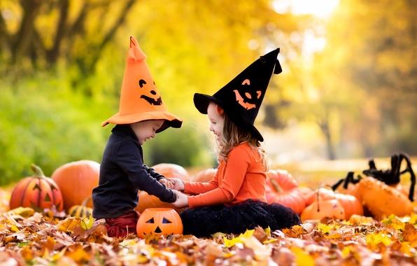Picture autumn, leaves, joy, children, girls, Halloween, pumpkin, girl, Pumpkin, Halloween, nature, cap, autumn, leaves, children