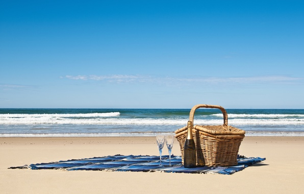 Picture sand, sea, beach, wine, basket, coast, bottle, blanket, glasses, picnic, champagne