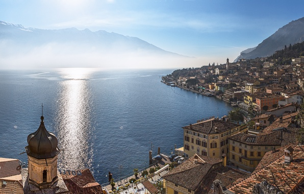 Picture mountains, lake, building, home, Italy, panorama, Italy, Lombardy, Lombardy, Garda, Lake Garda, Lake Garda, Limone …