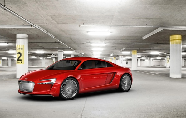 Picture red, Audi, garage, the concept car, Е-tron