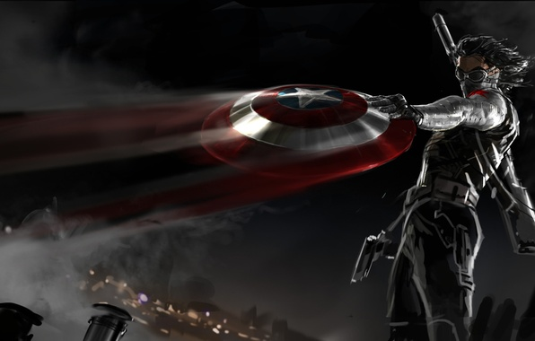 Picture night, gun, weapons, mask, art, shield, rifle, comic, fan art, The first avenger: the Other …