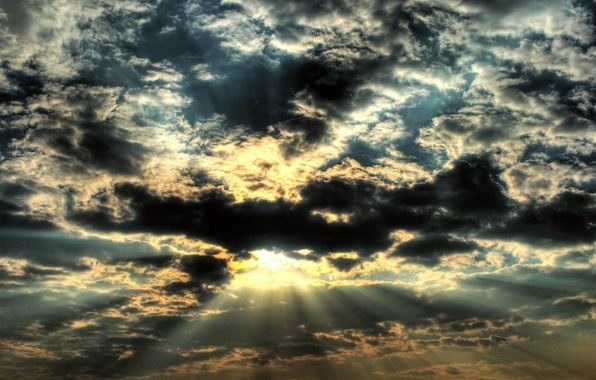 Picture the sun, clouds, rays, light, The sky