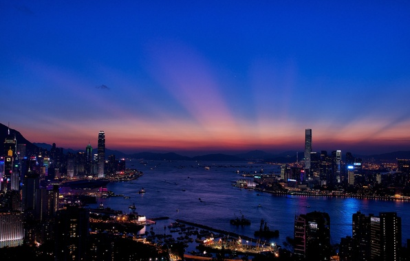 Picture night, the city, lights, building, Hong Kong, skyscrapers, the evening, Bay, Hong Kong, panorama