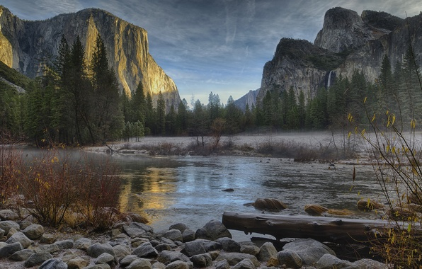 Picture winter, forest, mountains, river, stones, USA, Yosemite national Park, December, Yosemite National Park, Sandeep Thomas …