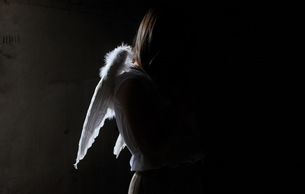 Picture girl, light, shadow, angel
