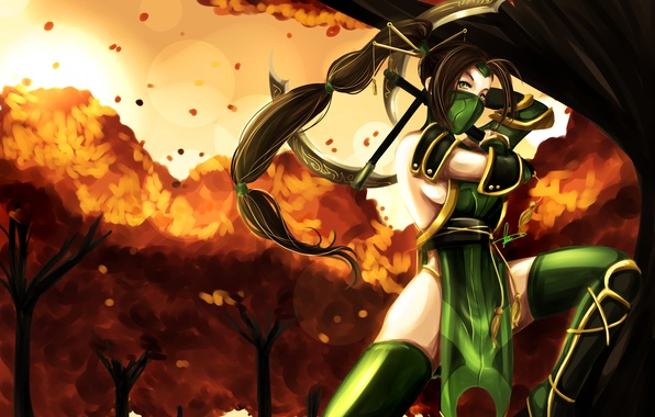 Picture look, girl, trees, weapons, hair, the game, costume, long, Akali, League of Legends