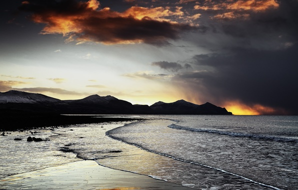 Picture sea, wave, beach, sunset, mountains, rocks, the evening
