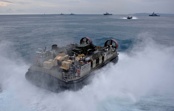 Picture squirt, ship, Navy, sea., pillow, air, hovercraft, landing