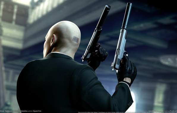 Wallpaper Weapons Guns Barcode Bald Gloves Jacket Agent 47 Silver Baller Hitman Absolution Mufflers Forty Seventh Assassin The Back Of The Head Images For Desktop Section Igry Download