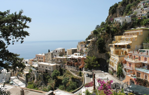 Picture sea, the sky, the city, rock, street, mountain, home, Italy, Amalfi