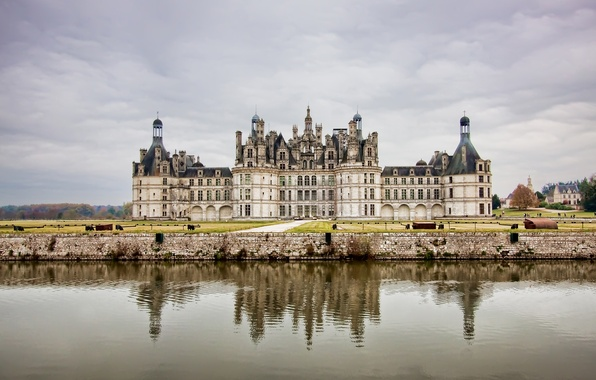 Picture the sky, water, castle, France, Clouds