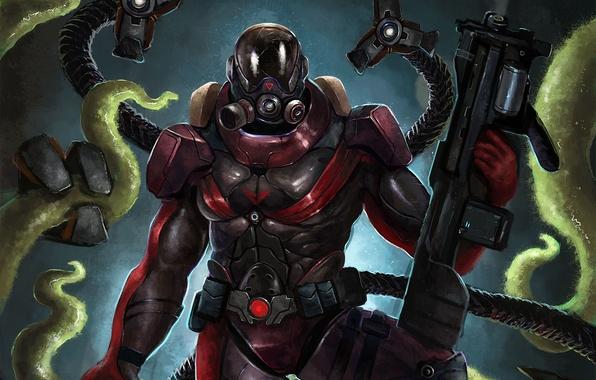 Picture warrior, art, tentacles, armor, We Have Drop Bogdan, weapons. monster