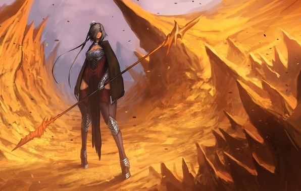 Picture girl, weapons, rocks, art, spear, sharp